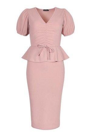Rouched Peplum Detail Midi Dress | boohoo pink