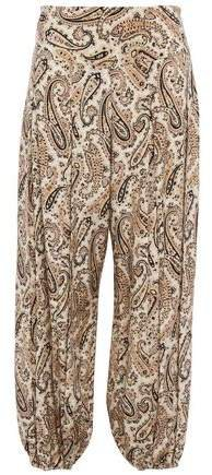 Moscow Cropped Printed Silk Crepe De Chine Tapered Pants