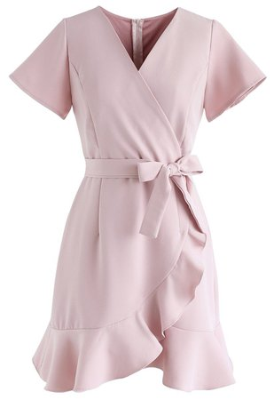 Simplify the Life Ruffle Dress in Dusty Pink - DRESS - Retro, Indie and Unique Fashion