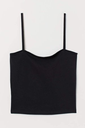 Cropped Jersey Camisole Top - Black