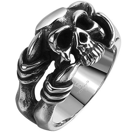 Men's Stainless Steel Dragon Claw Skull Ring Band Vintage Fashion Gothic Biker Punk Rock Silver Black|Amazon.com