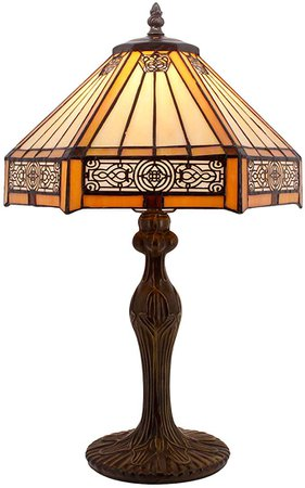 Tiffany Lamp Yellow Hexagon Stained Glass Lampshade Antique Base Mission Style End Coffee Table Lamps Read Lighting W12 H18 Inch for Living Room Bedroom Bedside Desk S011 WERFACTORY: Amazon.ca: Tools & Home Improvement