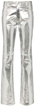 metallic straight leg jeans