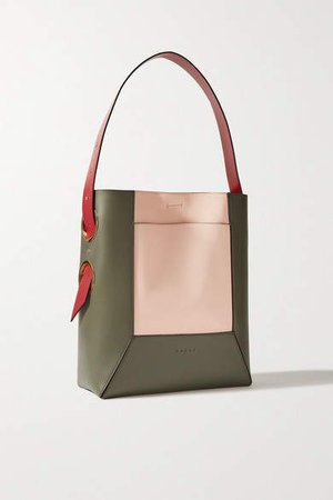 Color-block Leather Tote - Army green