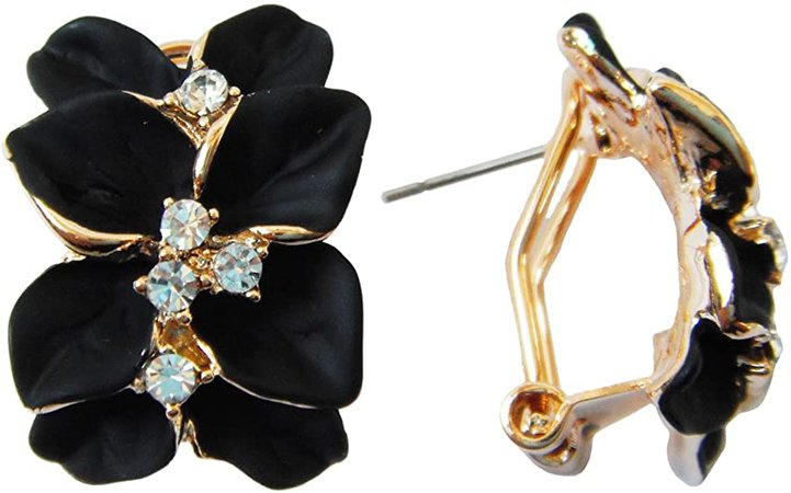 Navachi 18k Gold Plated Clear Crystal Black Enamel Leaves Flower Omega Earrings