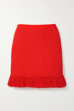 Fringed Open-knit Cotton-blend Mini Skirt - Red