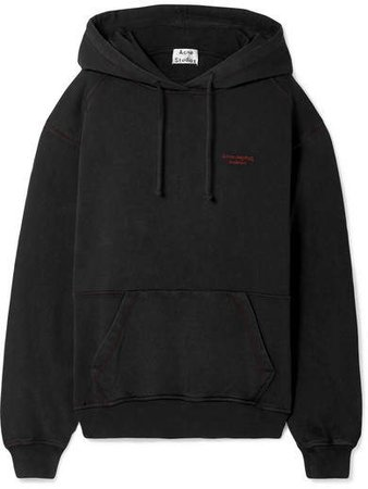Embroidered Cotton-jersey Hoodie - Black