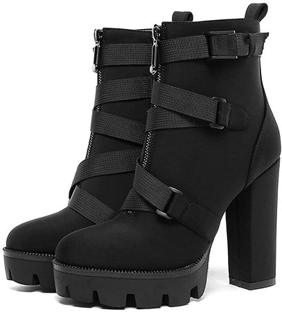 DETOGNI Women's Fashion Thick Heeled Boots with Buckle Platform Square High Heels Black Lycra Winter/Spring/Autumn Black Ankle Worker Boots
