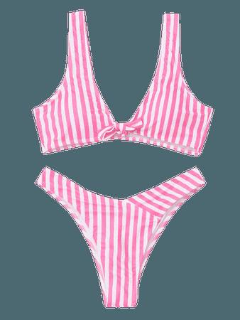 Front Knot Striped Bikini Set PINK AND WHITE: Bikinis M | ZAFUL