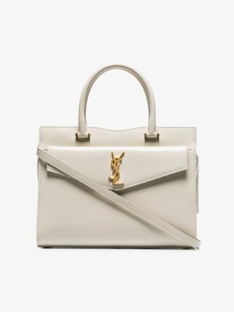 cream Uptown small leather tote bag