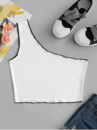 [27% OFF] [POPULAR] 2020 Ribbed One Shoulder Topstitch Crop Tank Top In WHITE | ZAFUL