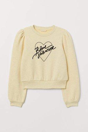 Flock-print Sweatshirt - Yellow