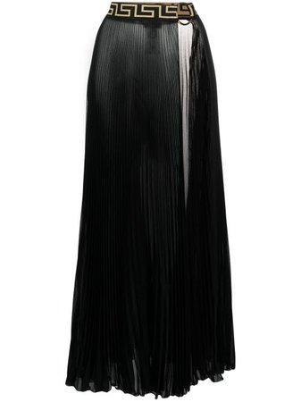 Shop black Versace Greca-trim pleated pareo with Express Delivery - Farfetch