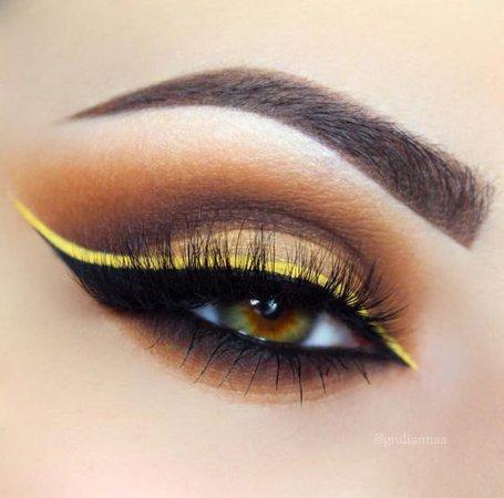 Brown Eyeshadow w/ Yellow & Black Eyeliner