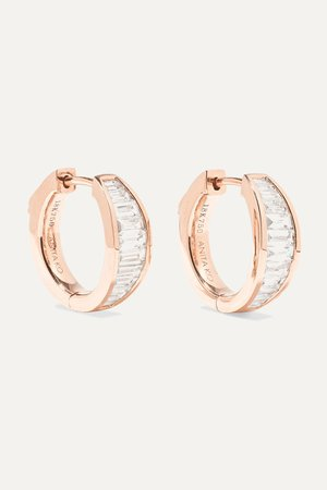 Rose gold Huggie 18-karat rose gold diamond earrings | Anita Ko | NET-A-PORTER