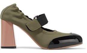 Patent Leather-trimmed Neoprene Mary Jane Pumps