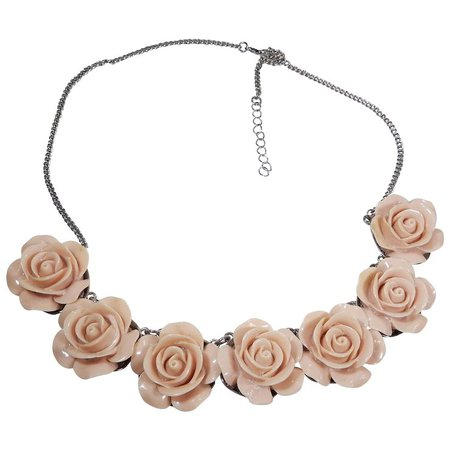 Pretty Vintage Pink Rose Flower Necklace/Choker : Penny Candy Antiques | Ruby Lane