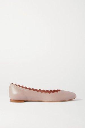 Lauren Scalloped Leather Ballet Flats - Beige