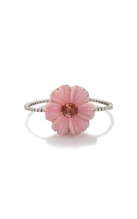 One of a Kind Tropical Flower Tennis Bracelet set with Pink Opal and Pink Tourmaline by Irene Neuwirth | Moda Operandi