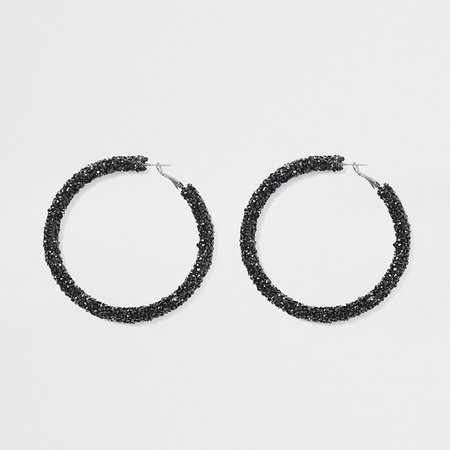 Black diamante gem hoop earrings | River Island