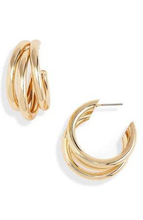 Stella + Ruby Bouclé Tube Hoop Earrings | Nordstrom
