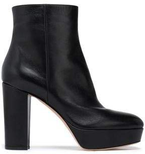 Temple Leather Platform Ankle Boots