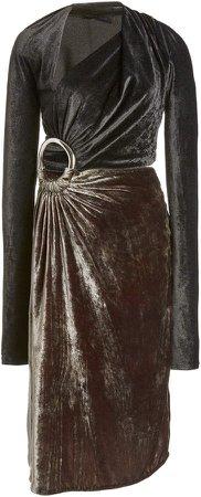 Proenza Schouler Velvet Cut-Out Ring Dress