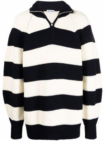 Sunnei stripe-pattern half-zip Jumper - Farfetch