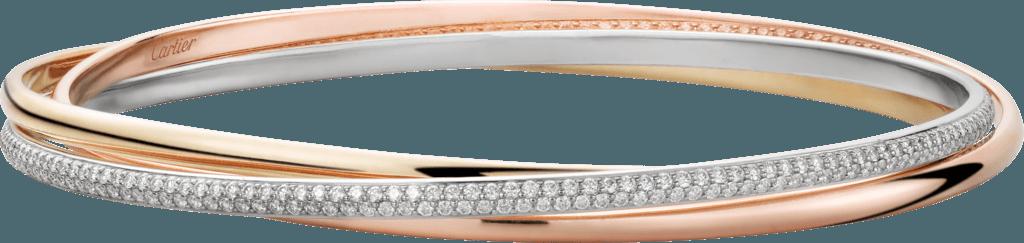CRN6711717 - Trinity bracelet - White gold, yellow gold, pink gold, diamonds - Cartier