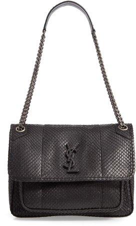 Medium Niki Genuine Anaconda Shoulder Bag