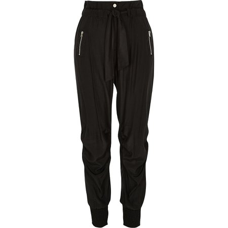 Black paperbag tie waist joggers | River Island
