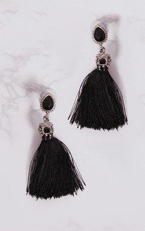 Black Jewel Stud Tassel Earrings | PrettyLittleThing USA