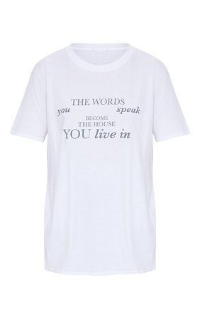 White Words You Speak Printed T Shirt | Tops | PrettyLittleThing USA