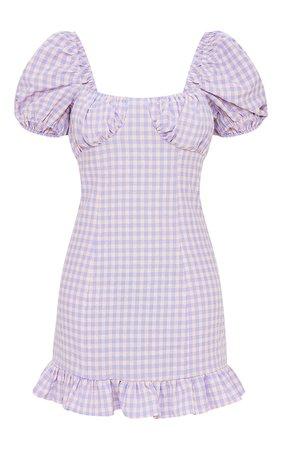 Lilac Gingham Print Ruched Bust Frill Hem Shift Dress | PrettyLittleThing USA