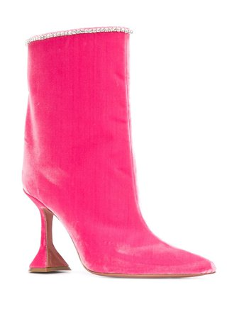 Pink Amina Muaddi Pointed Ankle Boots | Farfetch.com