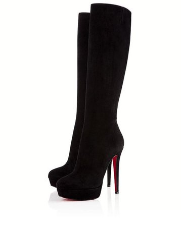 Christian Louboutin Black 37.5it Platform Knee High Heel Lady Alti Red Sole Zip Toe Suede Boots/Booties Size EU 37.5 (Approx. US 7.5) Regular (M, B) - Tradesy