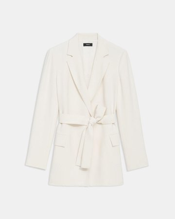 Eco Rosina Crepe Belted Blazer | Theory