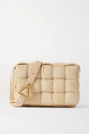 Cassette Padded Intrecciato Suede Shoulder Bag - Beige