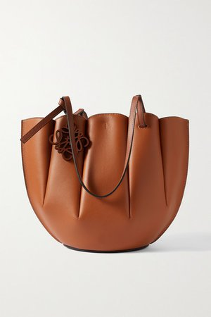 Shell Small Leather Tote - Tan