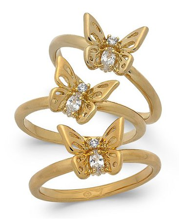 kate spade new york Gold-Tone 3-Pc. Set Crystal Butterfly Stackable Rings