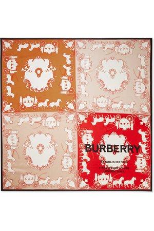 Burberry | Printed mulberry silk-twill scarf | NET-A-PORTER.COM