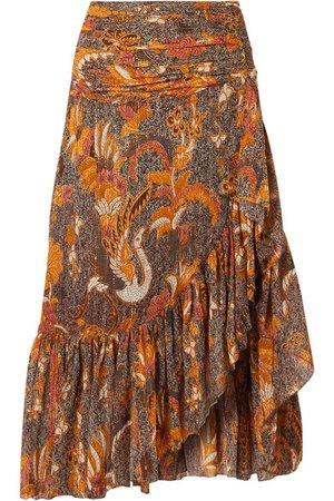 Ulla Johnson | Ailie ruffled printed cotton-blend midi skirt | NET-A-PORTER.COM