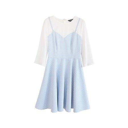Dabuwawa - Mock Two-Piece Check Dress