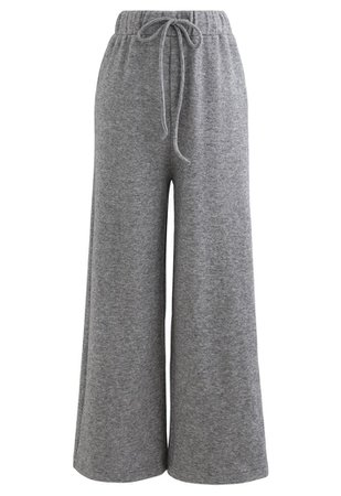Soft Touch Drawstring Knit Pants in Grey - Retro, Indie and Unique Fashion