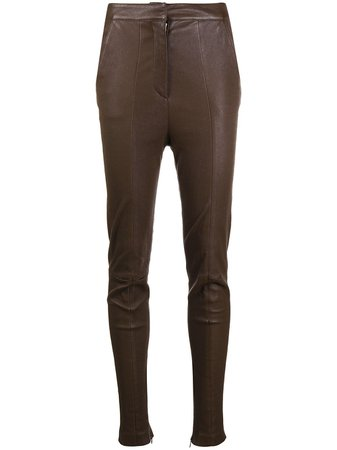Balmain high-waisted Leather Skinny Trousers - Farfetch