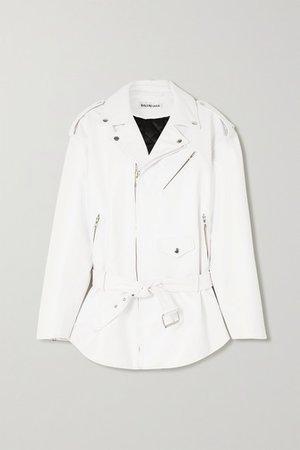 Oversized Leather Biker Jacket - White