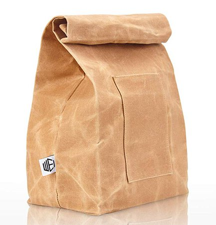 Amazon.com: WEI CLASSIC Waxed Canvas Lunch Bag, Waterproof, Durable, Eco Friendly, Large Size Brown Paper Bag Styled, Lunch Box for Men, Women & Kids: Kitchen & Dining