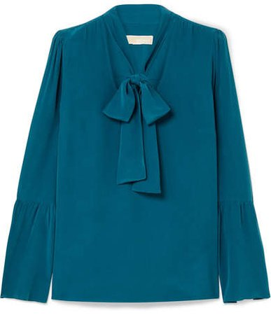 Pussy-bow Silk-crepe Blouse - Teal