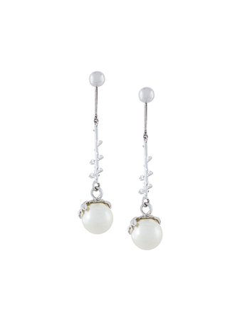 Exposed Pearl Drop Earrings