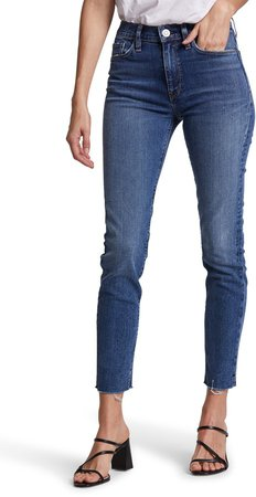Barbara Ripped High Waist Ankle Skinny Jeans
